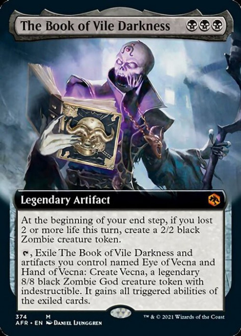 MtG Adventures in the Forgotten Realms Mythic Rare The Book of Vile Darkness #374 [Extended Art FOIL]