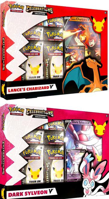 Pokemon Trading Card Game Celebrations Charizard & Dark Sylveon V Set of Both Collection Boxes (Pre-Order ships October)