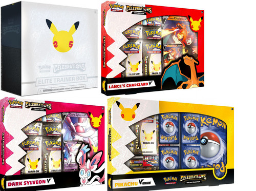 Pokemon Trading Card Game Celebrations Elite Trainer, Pikachu V Union, Charizard & Dark Sylveon V Collections BUNDLE of 4 Boxes (Pre-Order ships October)