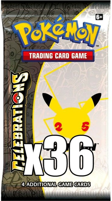 Pokemon Trading Card Game Celebrations LOT of 36 Booster Packs [Equivalent of a Box] (Pre-Order ships October)