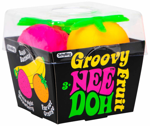 NeeDoh The Groovy Glob Boss Banana, Outta Sight Strawberry & Far Out Orange 2.5-Inch Small Stress Ball Pack of 3 Fruit (Pre-Order ships January)