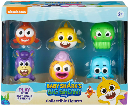 Baby Shark's Big Show! Baby Shark, William, Vola, Hank, Goldie & Chucks 2-Inch Figure 6-Pack