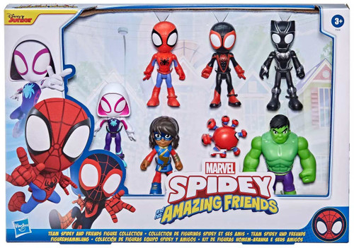 Spidey & His Amazing Friends Team Spidey & Friends Ghost-Spider, Spidey, Miles Morales, Ms. Marvel, Black Panther, Hulk & Trace-E Action Figure 7-Pack
