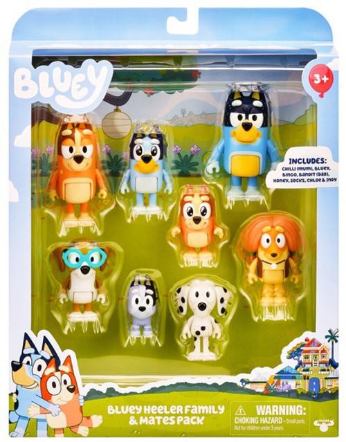 Bluey Heeler Family & Mates Pack Mini Figure 8-Pack
