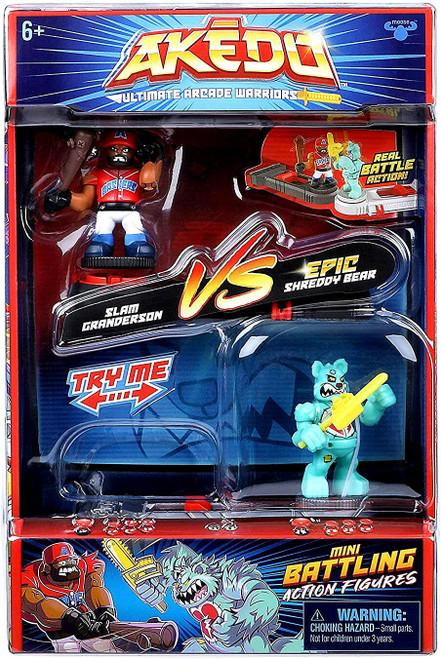 Akedo Ultimate Arcade Warriors Series 1 Slam Granderson VS. Epic Shreddy Bear Mini Battling Action Figure VERSUS Pack