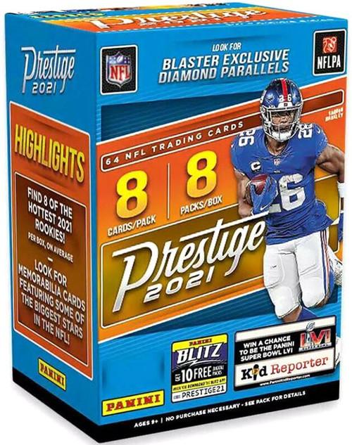 NFL Panini 2021 Prestige Football Trading Card BLASTER Box [8 Packs, Diamond Parallels]