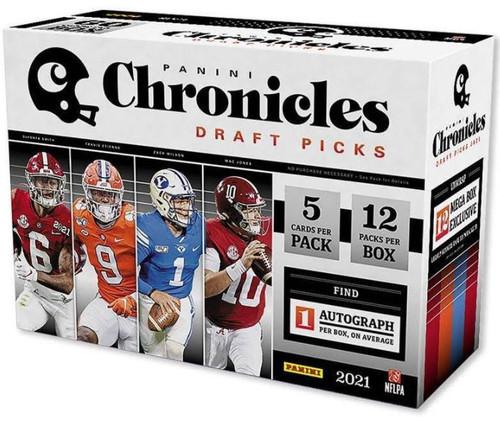 NFL 2021 Chronicles Draft Picks Football Trading Card MEGA Box [12 Packs, 1 Autograph]