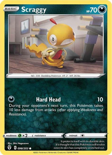 Pokemon Sword & Shield Evolving Skies Common Scraggy #98
