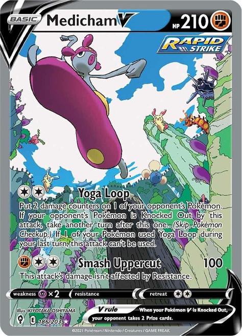 Pokemon Sword & Shield Evolving Skies Ultra Rare Medicham V #186