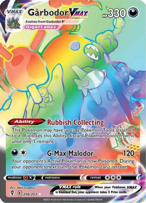 Pokemon Sword & Shield Evolving Skies Secret Rare Garbodor VMAX #216