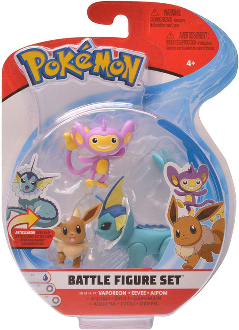 Pokemon Battle Figure Vaporeon, Eevee & Aipom 3-Inch Mini Figure 3-Pack