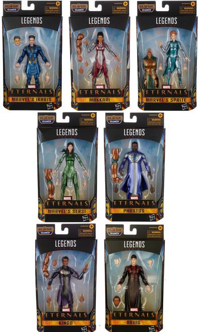 The Eternals Marvel Legends Gilgamesh Series Ikaris, Makkari, Sersi, Phastos, Kingo, Druig & Sprite Set of 7 Action Figures (Pre-Order ships January)