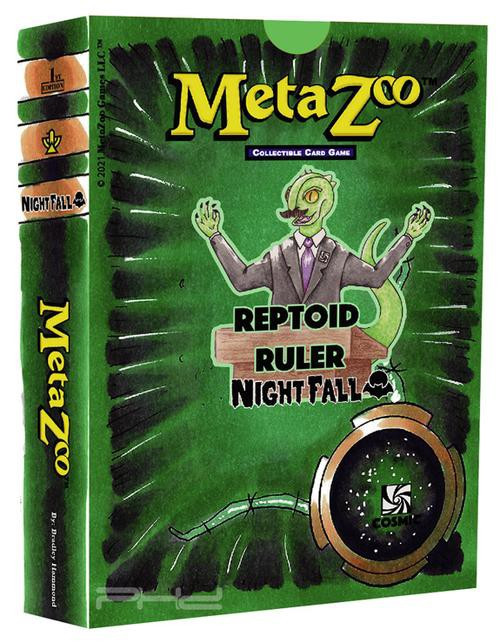 MetaZoo Trading Card Game Cryptid Nation Nightfall Reptoid Ruler Theme Deck [1st Edition, Cosmic] (Pre-Order ships October)