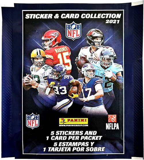 NFL Panini 2021 Football Sticker Collection Pack [5 Stickers + 1 Card]