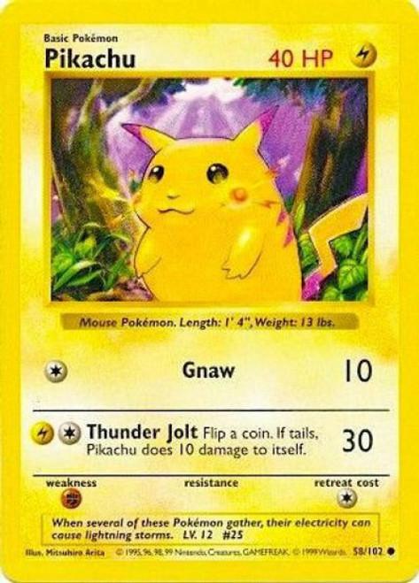 Pokemon Base Set Common Pikachu #58 [Shadowless, Red Cheeks]