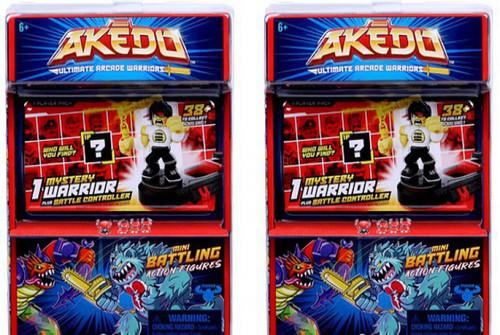 Akedo Ultimate Arcade Warriors Series 1 LOT of 2 Mini Battling Action Figure MYSTERY Packs