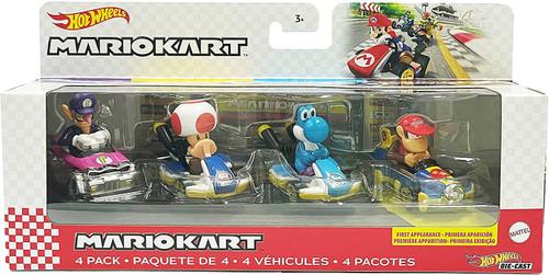 Hot Wheels Mario Kart Wario, Toad, Yoshi & Donkey Kong Diecast Car 4-Pack