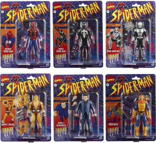 2021 Marvel Legends Retro Collection Wave 2 Ben Reilly, Symbiote Spider-Man, Spider-Armor Mk I, Shocker, Hammerhead & Hobgoblin Set nof 6 Action Figures (Pre-Order ships February)