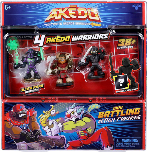 Akedo Ultimate Arcade Warriors Series 1 Darksting, Axel, Nightblade & MYSTERY Character Mini Battling Action Figure FIGHT 4-Pack