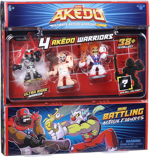 Akedo Ultimate Arcade Warriors Series 1 Big Stinky, Burnout, Ultravolt & MYSTERY Character Mini Battling Action Figure FIGHT 4-Pack (Pre-Order ships October)