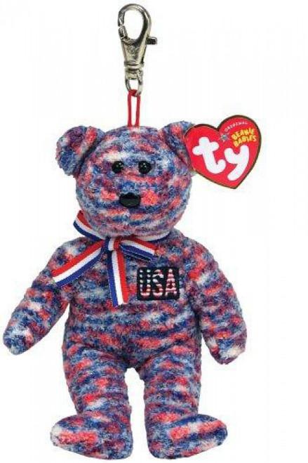 Beanie Babies USA Bear Keychain Beanie Baby Plush