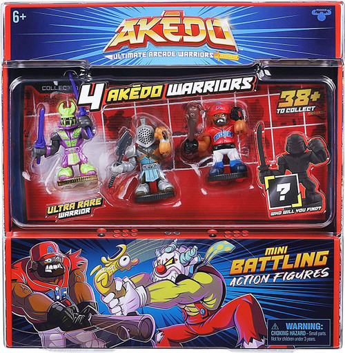 Akedo Ultimate Arcade Warriors Series 1 Twinfang, Slam Granderson, Aximus & MYSTERY Character Mini Battling Action Figure FIGHT 4-Pack
