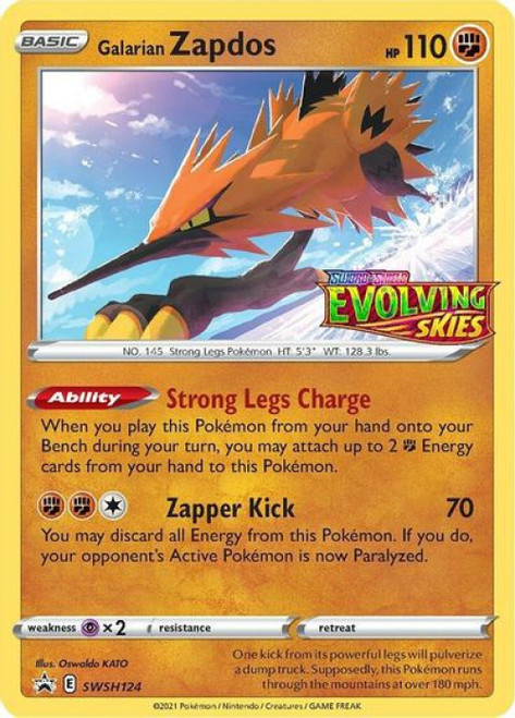 Pokemon Sword & Shield Promo Ultra Rare Galarian Zapdos SWSH124