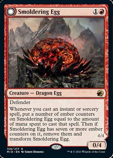 MtG Innistrad: Midnight Hunt Rare Smoldering Egg // Ashmouth Dragon #159