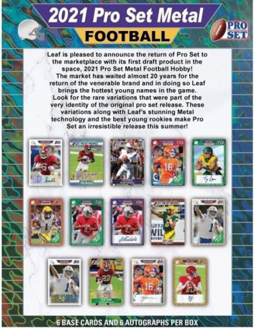 NFL 2021 Pro Set Metal Football Exclusive Trading Card HOBBY Box [6 Base Cards & 6 Autographs]