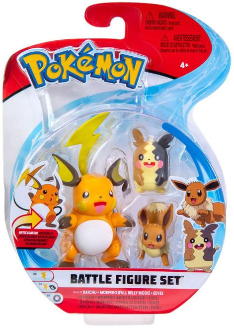 Pokemon Battle Figure Raichu, Morpeko (Full Belly Mode) & Eevee 3-Inch Mini Figure 3-Pack
