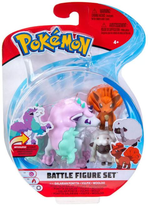 Pokemon Battle Figure Galarian Ponyta, Vulpix & Wooloo 3-Inch Mini Figure 3-Pack