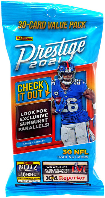NFL Panini 2021 Prestige Football Trading Card VALUE Pack [30 Cards]
