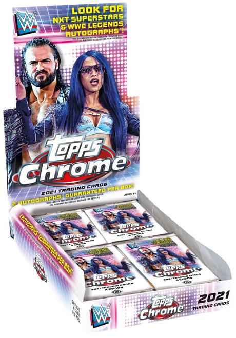 WWE Wrestling Topps 2021 Chrome Trading Card HOBBY Box [24 Packs, 2 Autographs]
