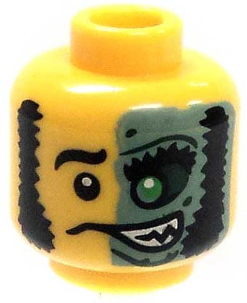 Mutton Chops & Half Green Face Minifigure Head [Yellow Loose]