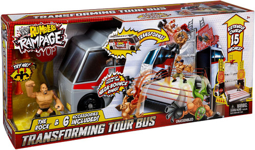 WWE Wrestling Rumblers Rampage Transforming Tour Bus Mini Figure Playset