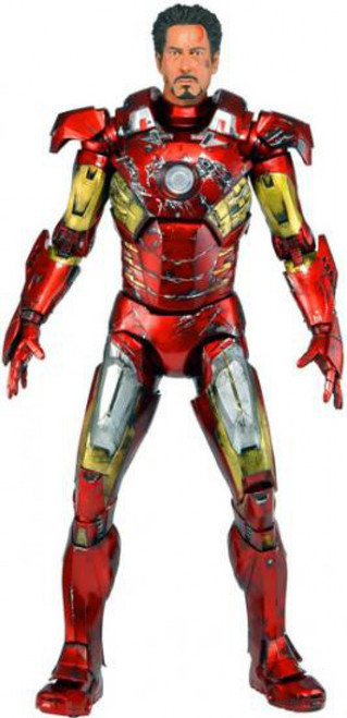 NECA Marvel Avengers Quarter Scale Iron Man Action Figure [Battle Damaged]