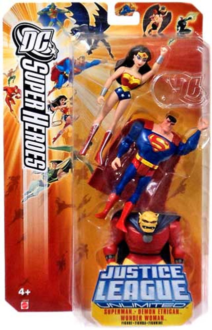 DC Justice League Unlimited Super Heroes Superman, Demon Etrigan & Wonder Woman Action Figures [Yellow Card]