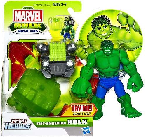 Marvel Playskool Heroes Hulk Adventures Fist-Smashing Hulk Exclusive Action Figure Set