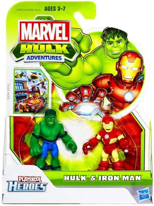 Marvel Playskool Heroes Hulk Adventures Hulk & Iron Man Exclusive Action Figure Set