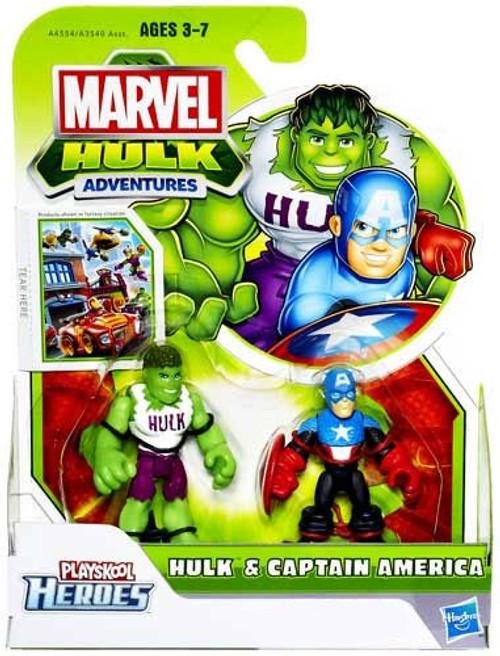 Marvel Playskool Heroes Hulk Adventures Hulk & Captain America Exclusive Action Figure Set