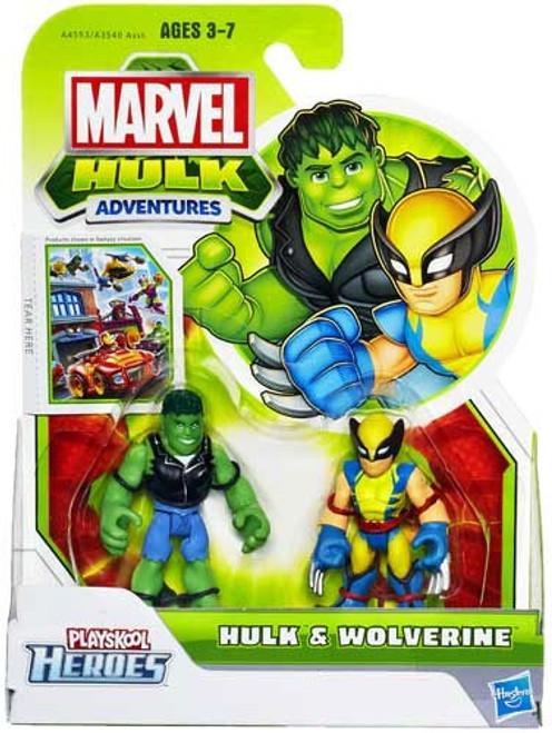 Marvel Playskool Heroes Hulk Adventures Hulk & Wolverine Exclusive Action Figure Set