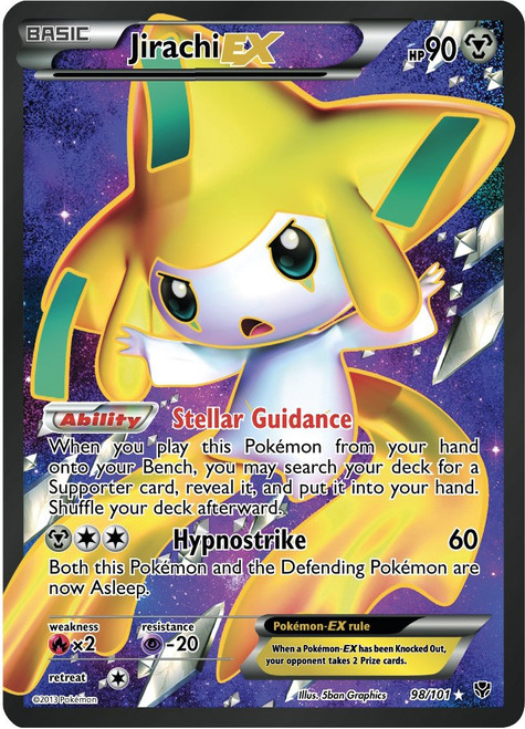Pokemon Black & White Plasma Blast Ultra Rare Full Art Jirachi EX #98