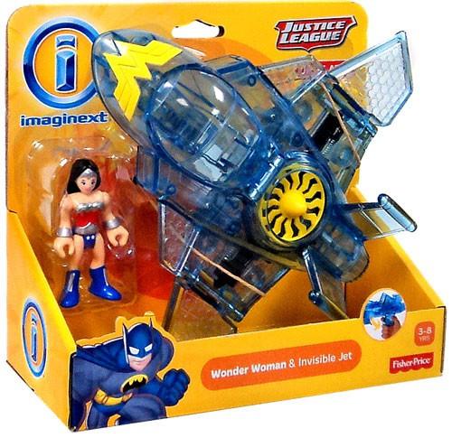 Fisher Price DC Super Friends Imaginext Justice League Wonder Woman & Invisible Jet Exclusive 3-Inch Figure Set [Original Version]