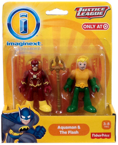 Fisher Price DC Super Friends Imaginext Justice League Aquaman & Flash Exclusive 3-Inch Mini Figures