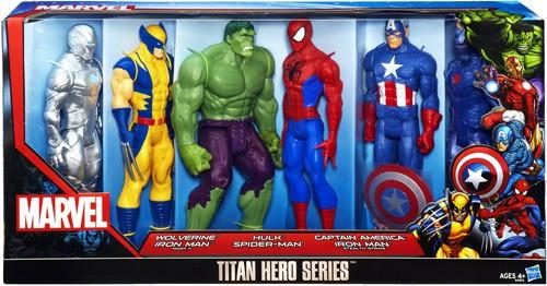 Thor The Dark World Titan Hero Series Wolverine, Iron Man Mk II, Hulk, Spider-Man, Captain America & Stealth Strike Iron Man Action Figure 6-Pack