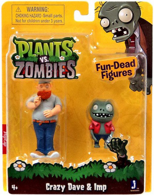 Plants vs. Zombies Fun-Dead Figures Crazy Dave & Imp 3-Inch Figure 2-Pack