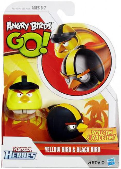 Angry Birds GO! Playskool Heroes Yellow Bird & Black Bird Mini Figure 2-Pack