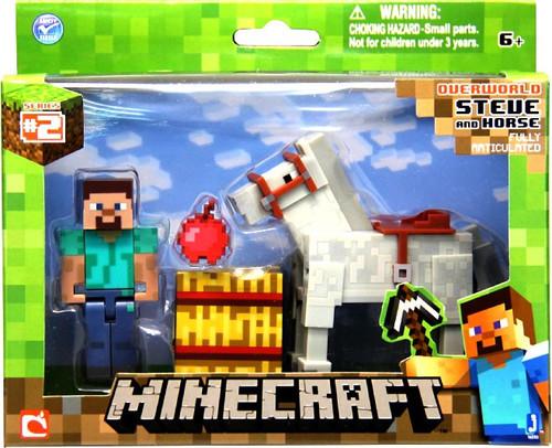 Minecraft Series 2 Steve & White Horse Action Figure 2-Pack [Overworld]