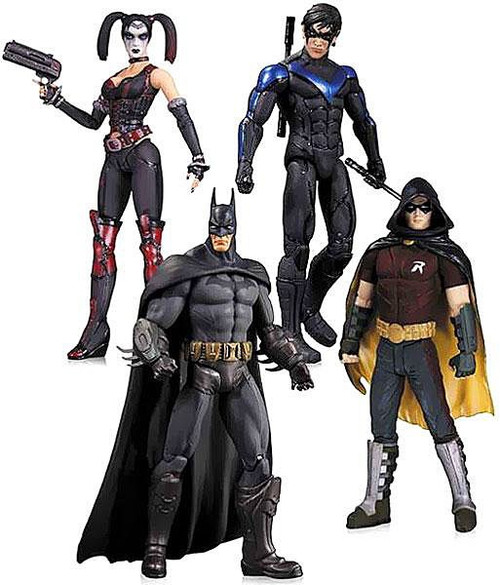 Arkham City Robin, Harley Quinn, Batman & Nightwing Action Figure 4-Pack