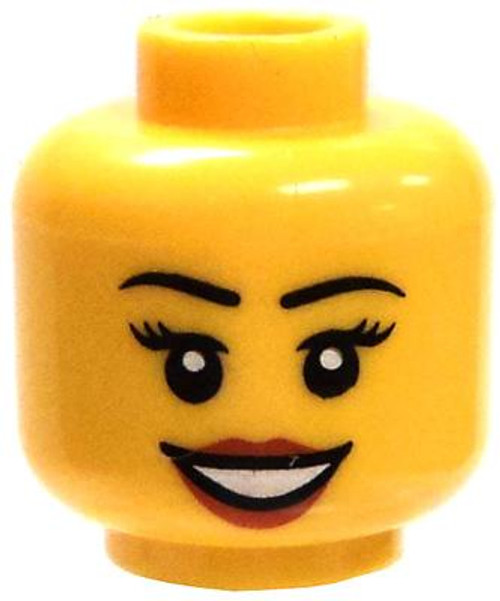 Female with Open Mouth Smile, Red Lipstick Minifigure Head [Loose]